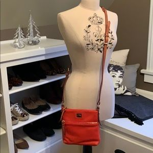 Dooley & Bourne orange leather crossbody bag